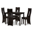 Baxton Studio Alani Modern and Contemporary Dark Brown Faux Leather Upholstered 5-Piece Dining Set