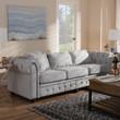 Baxton Studio Alaise Modern Classic Grey Linen Tufted Scroll Arm Chesterfield Sofa