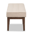 Baxton Studio Lucca Mid-Century Modern Walnut Wood Light Beige Fabric Button-Tufted Bench