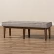 Baxton Studio Lucca Mid-Century Modern Walnut Wood Light Grey Fabric Button-Tufted Bench