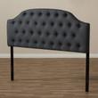 Baxton Studio Windsor Modern and Contemporary Dark Grey Fabric Upholstered Scalloped Buttoned King Size Headboard