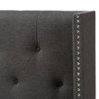 Baxton Studio Ally Modern And Contemporary Dark Grey Fabric Button-Tufted Nail head Winged Headboard
