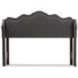 Baxton Studio Nadeen Modern and Contemporary Dark Grey Fabric Winged Headboard