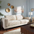 Baxton Studio Brittany Retro Mid-Century Modern Light Beige Fabric Upholstered 3-Seater Sofa