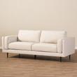 Baxton Studio Brittany Retro Mid-Century Modern Light Beige Fabric Upholstered 3-Seater Sofa