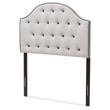 Baxton Studio Windsor Modern and Contemporary Greyish Beige Fabric Upholstered Scalloped Buttoned Headboard