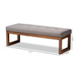 Baxton Studio Caramay Modern and Contemporary Grey Fabric Upholstered Walnut Brown Finished Wood Bench