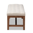 Baxton Studio Ainsley Modern and Contemporary Light Beige Fabric Upholstered Walnut Finished Solid Rubberwood Bench