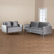 Baxton Studio Clara Modern and Contemporary Grey Velvet Fabric Upholstered 2-Piece Living Room Set