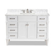 Baxton Studio Monte 48-Inch Transitional White finished Wood and Marble Single Sink Bathroom Vanity
