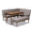 Baxton Studio Arvid Mid-Century Modern Gray Fabric Upholstered 4-Piece Wood Dining Nook Set