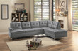 Homelegance Barrington Tufted Sectional Sofa in Grey
