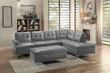 Homelegance Barrington Tufted Accent Ottoman in Grey with Sectional; Lifestyle