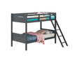 Coaster Littleton Twin/Twin Bunk Bed in Grey; with Mattress