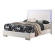 Coaster Felicity 4-Piece Bedroom Set in White with LED Lighting;  Bed