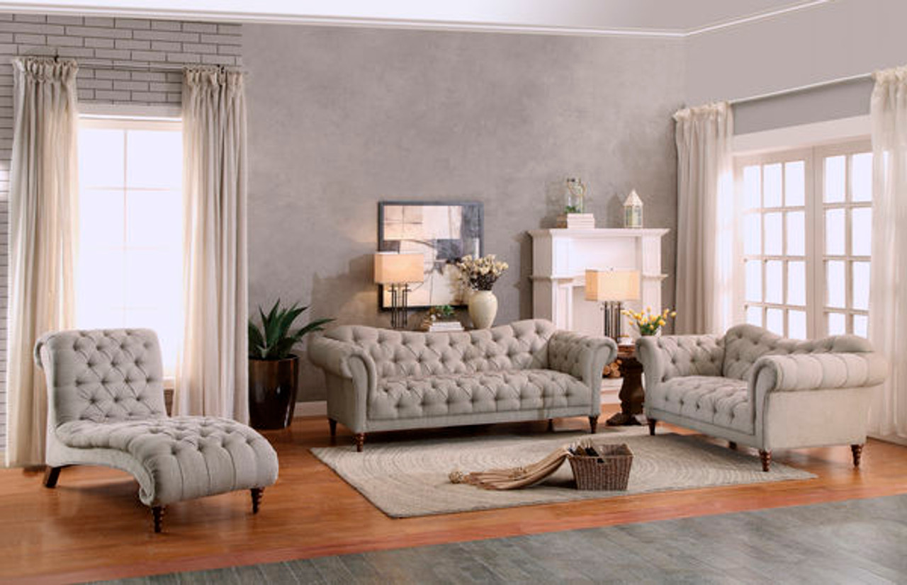 Homelegance Chesterfield Traditional Style 3 Piece Living Room Set ...