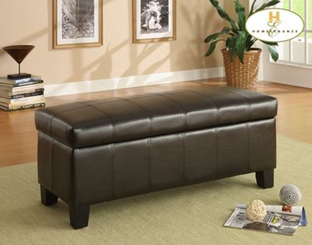 Tremendous Homelegance Clair Top Lift Storage Bench In Brown Vinyl Caraccident5 Cool Chair Designs And Ideas Caraccident5Info