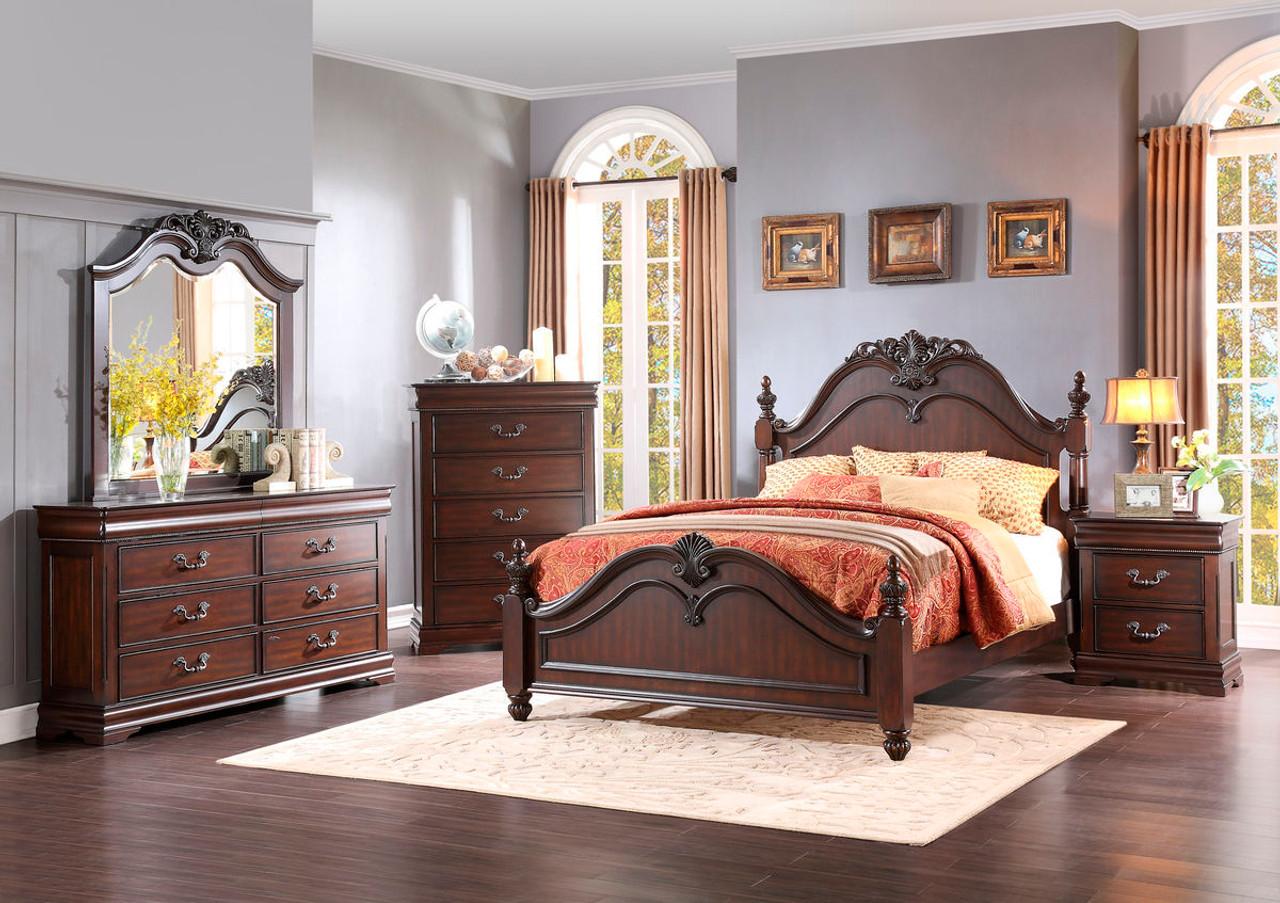 Homelegance Mont Belvieu 4-Piece Dark Cherry Bedroom Set