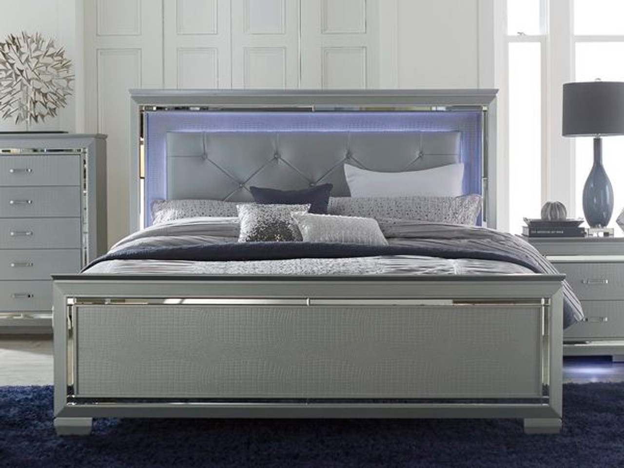 Homelegance Allura Modern Bed Silver With Touch Engaged LED Lighting    DealBeds.com