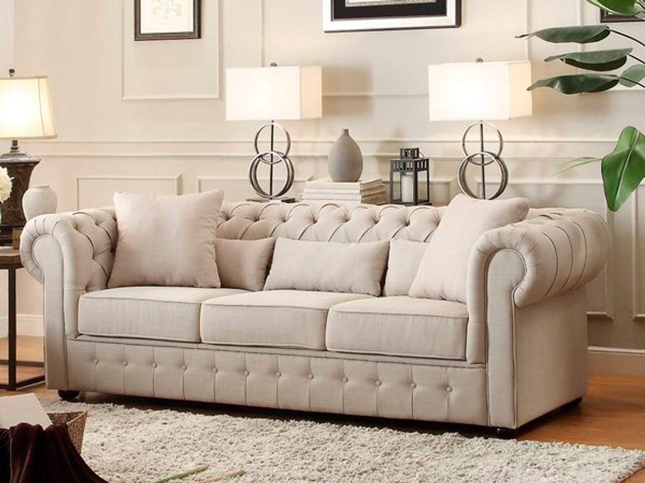Homelegance Grand Chesterfield Sofa Upholstered Button Tufted Fabric ...
