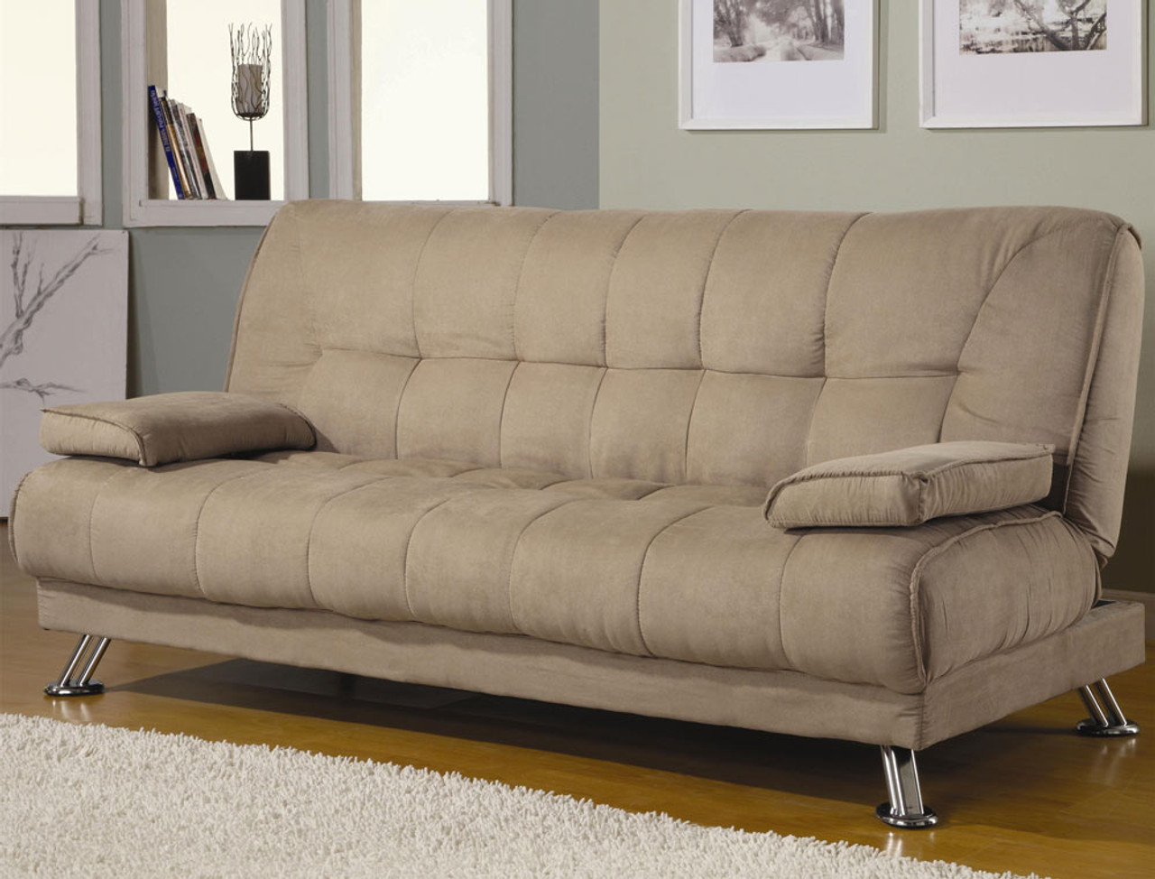 Coaster Braxton Tan Fabric Convertible Sofa Bed Dealbeds Com