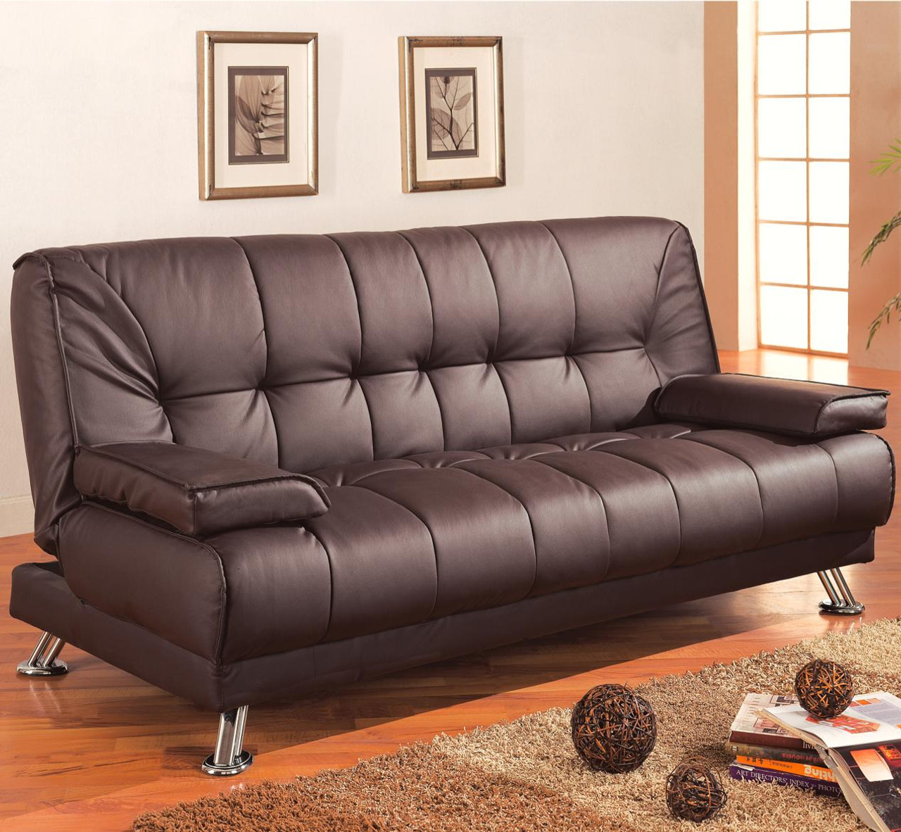 new product 8d054 4aaee Coaster Braxton Convertible Sofa Bed in Brown Faux Leather