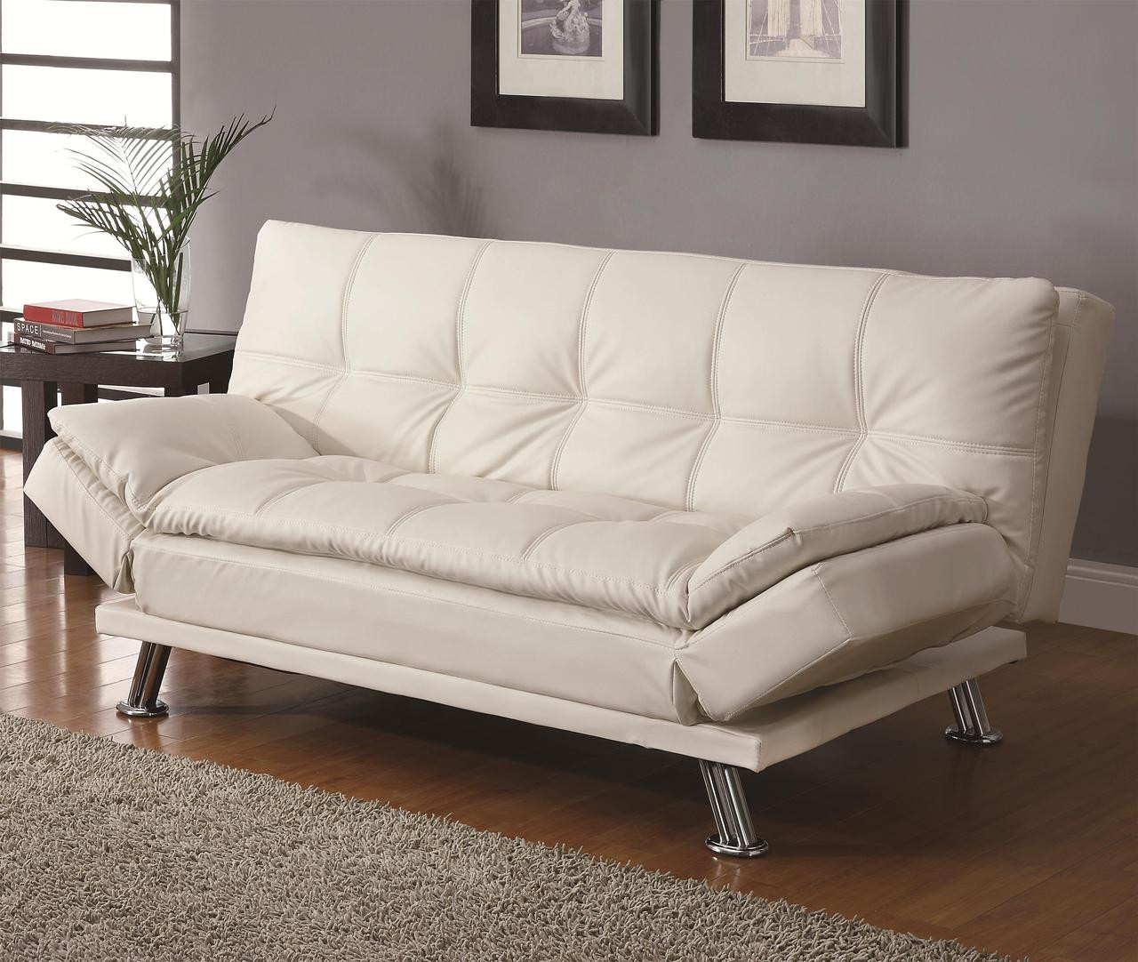 - Coaster Dilleston Contemporary Sleeper Sofa Bed In White