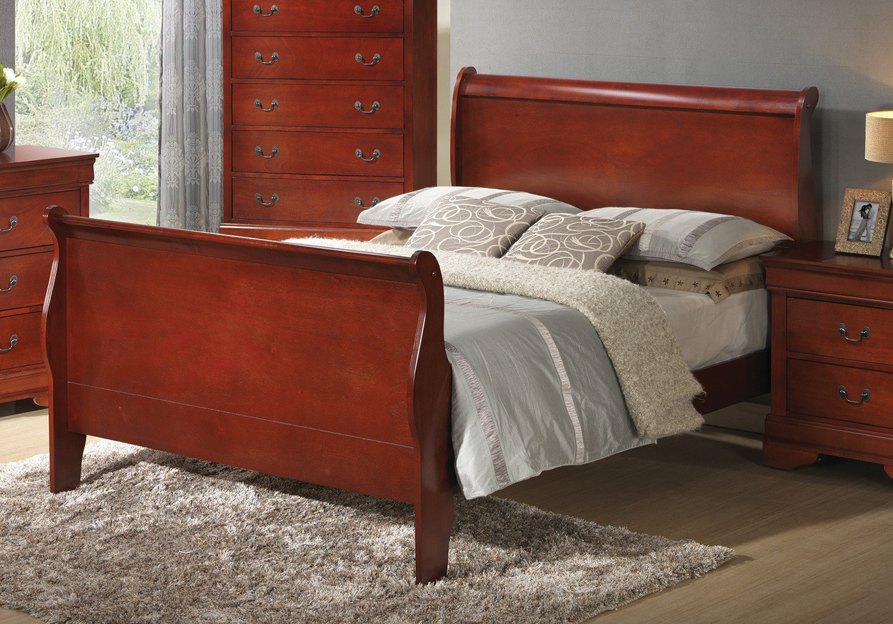 - Coaster Louis Philippe Sleigh Bed In Cherry - DealBeds.com