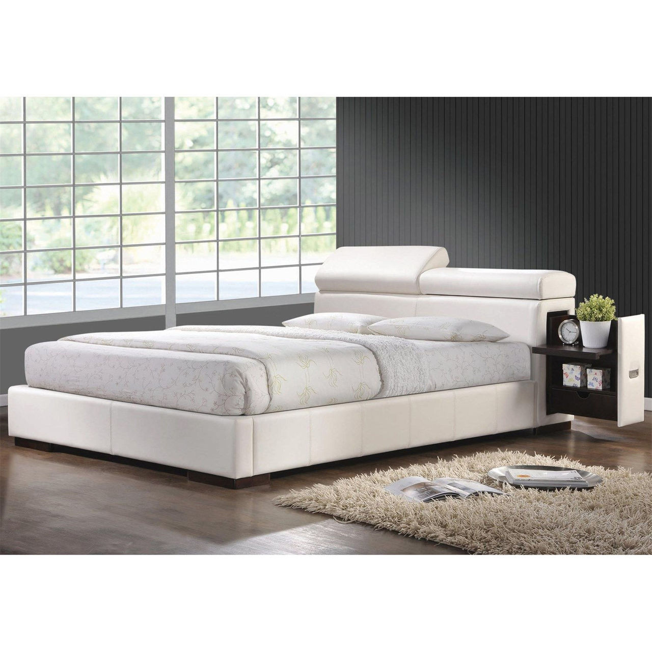 Coaster Maxine Ultra Modern Upholstered Bed in White