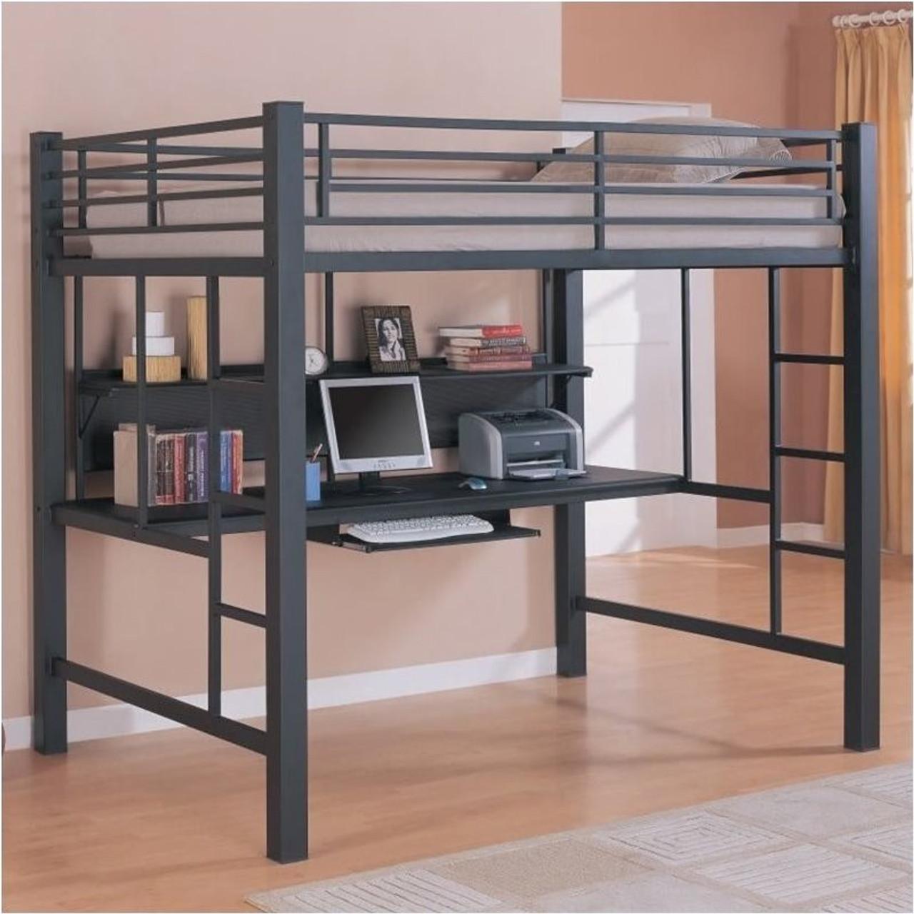 Coaster Safeguard Full Loft Bunk Bed With Workstation Dealbeds Com