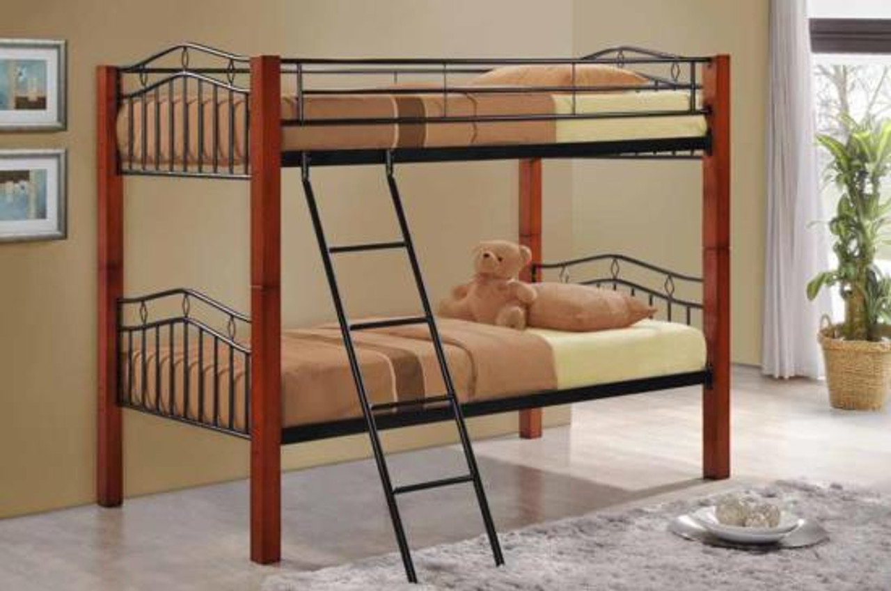 Coaster Haskell Metal And Wood Twin Over Twin Bunk Bed Dealbeds Com