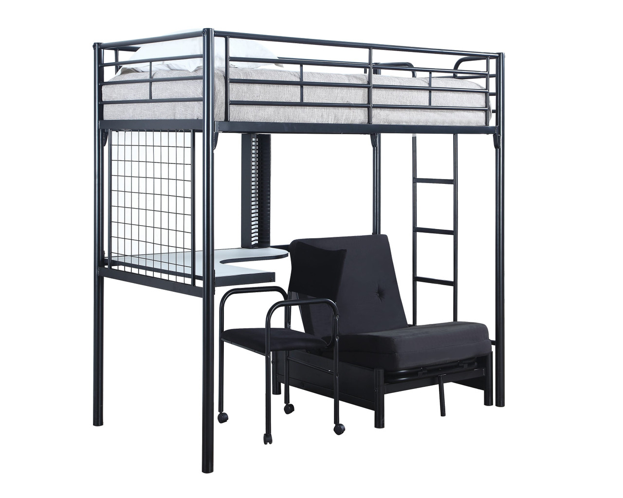 Coaster Dynamic Twin Loft Bunk Bed With Futon Chair Desk Dealbeds Com