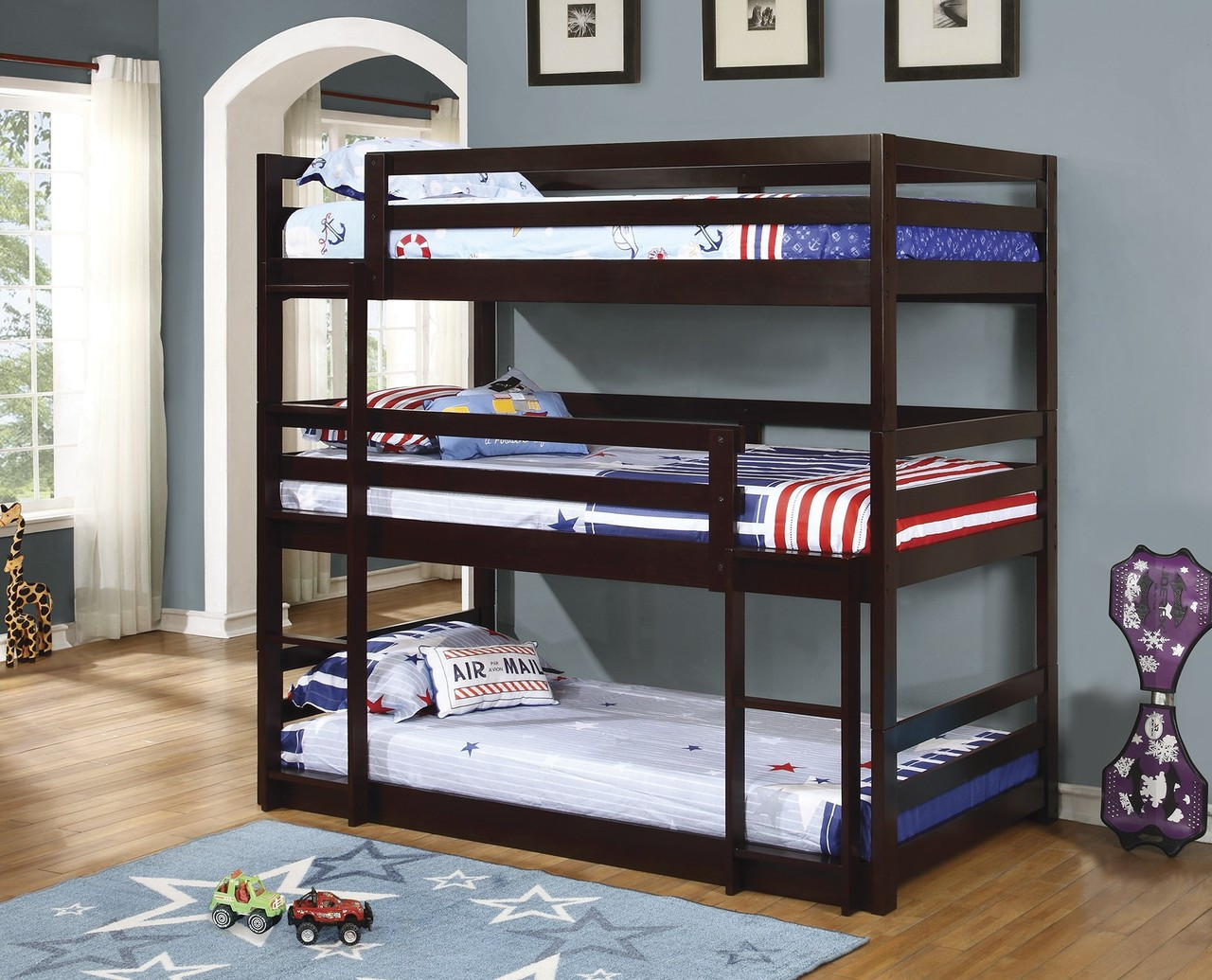 Coaster Mythos Triple Layer Bunk Bed In Cappuccino Dealbeds Com
