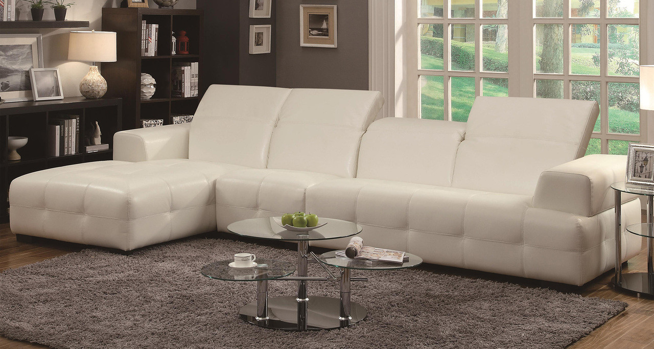 Coaster Darby Contemporary Sectional Sofa with Wide Chaise in White ...
