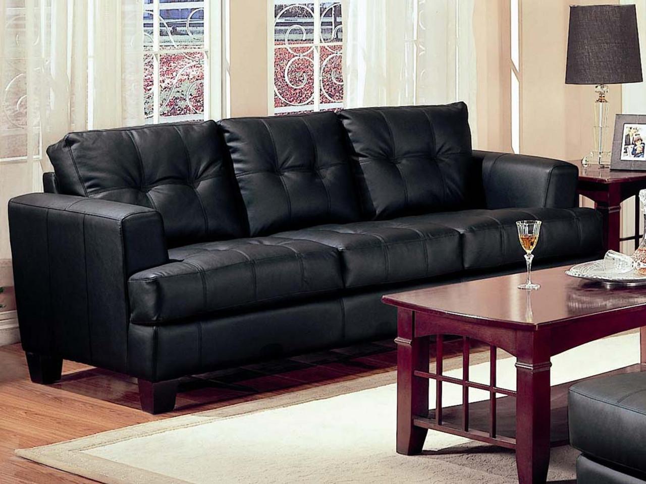 Coaster Samuel Contemporary Leather Sofa in Black - DealBeds.com