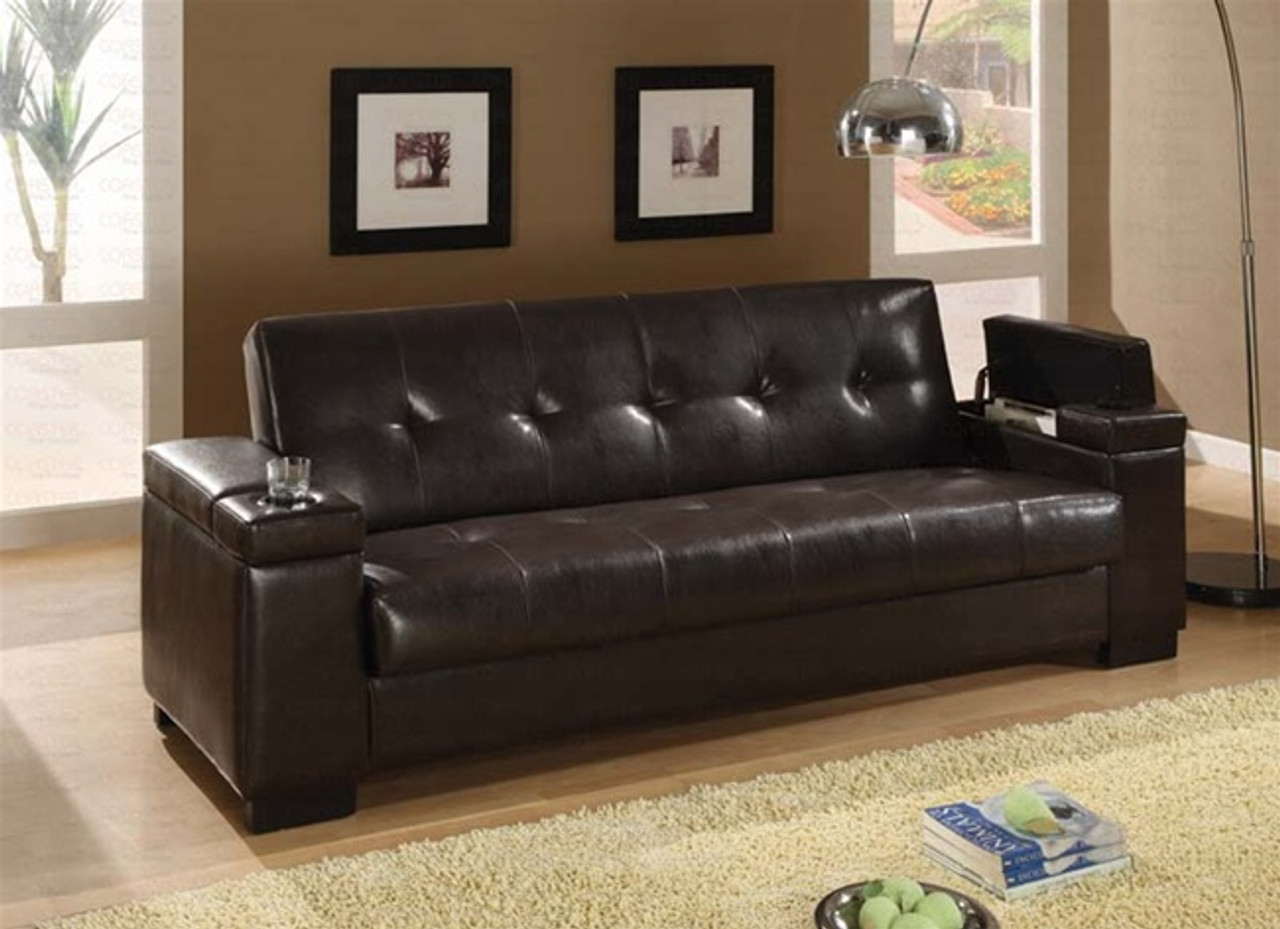 Coaster Montego Convertible Leather Sofa in Dark Brown - DealBeds.com
