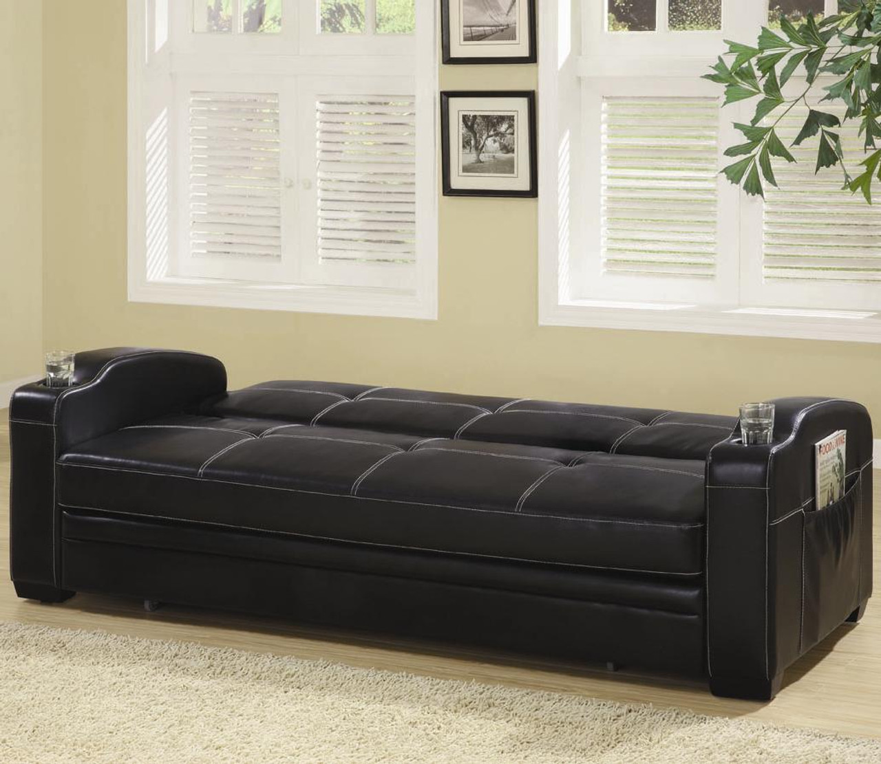 Coaster Fine Furniture Faux Leather Sofa Bed With White Stitching