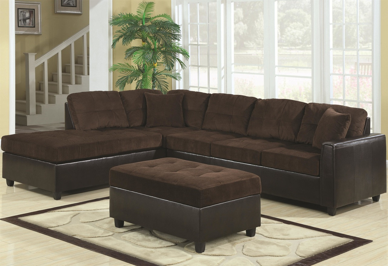 Brilliant Coaster Home Furnishings Casual Sectional Sofa In Chocolate Machost Co Dining Chair Design Ideas Machostcouk