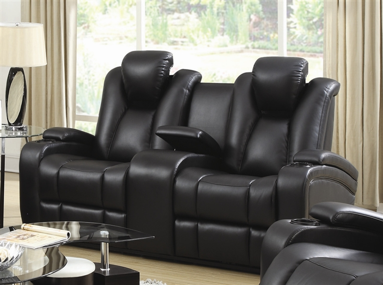 Coaster Delange Reclining Power Leather Loveseat In Black Dealbeds Com
