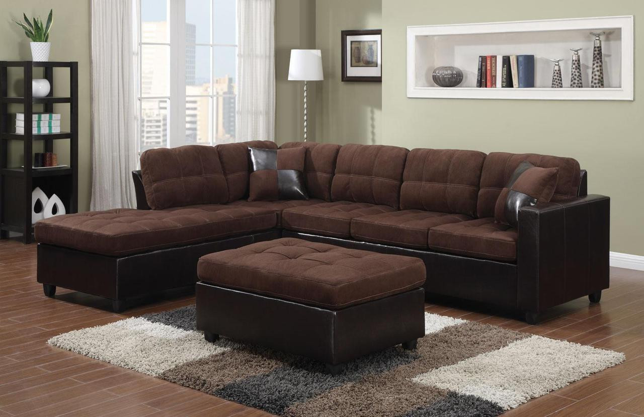 Coaster Mallory Reversible Sectional In Chocolate Brown Dealbeds Com