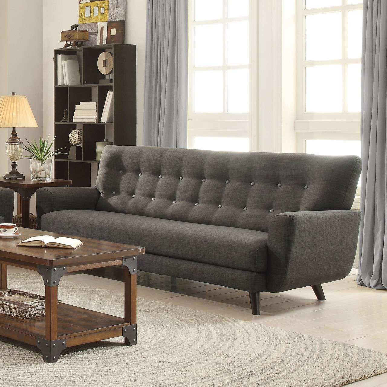 Coaster Maguire Contemporary Tufted Linen Sofa in Charcoal ...