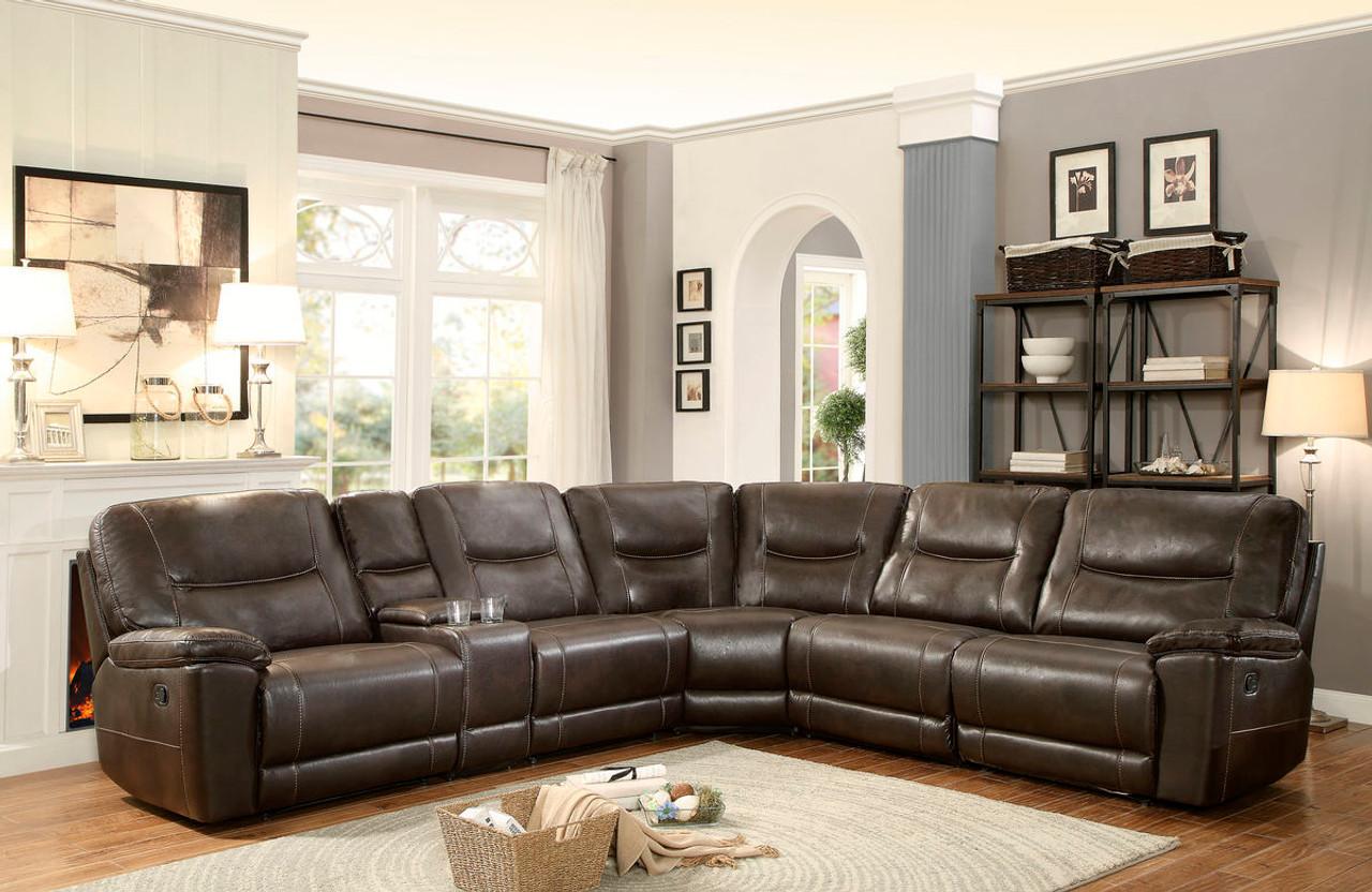 Homelegance Columbus Brown 6-Piece Reclining Sectional Sofa Set