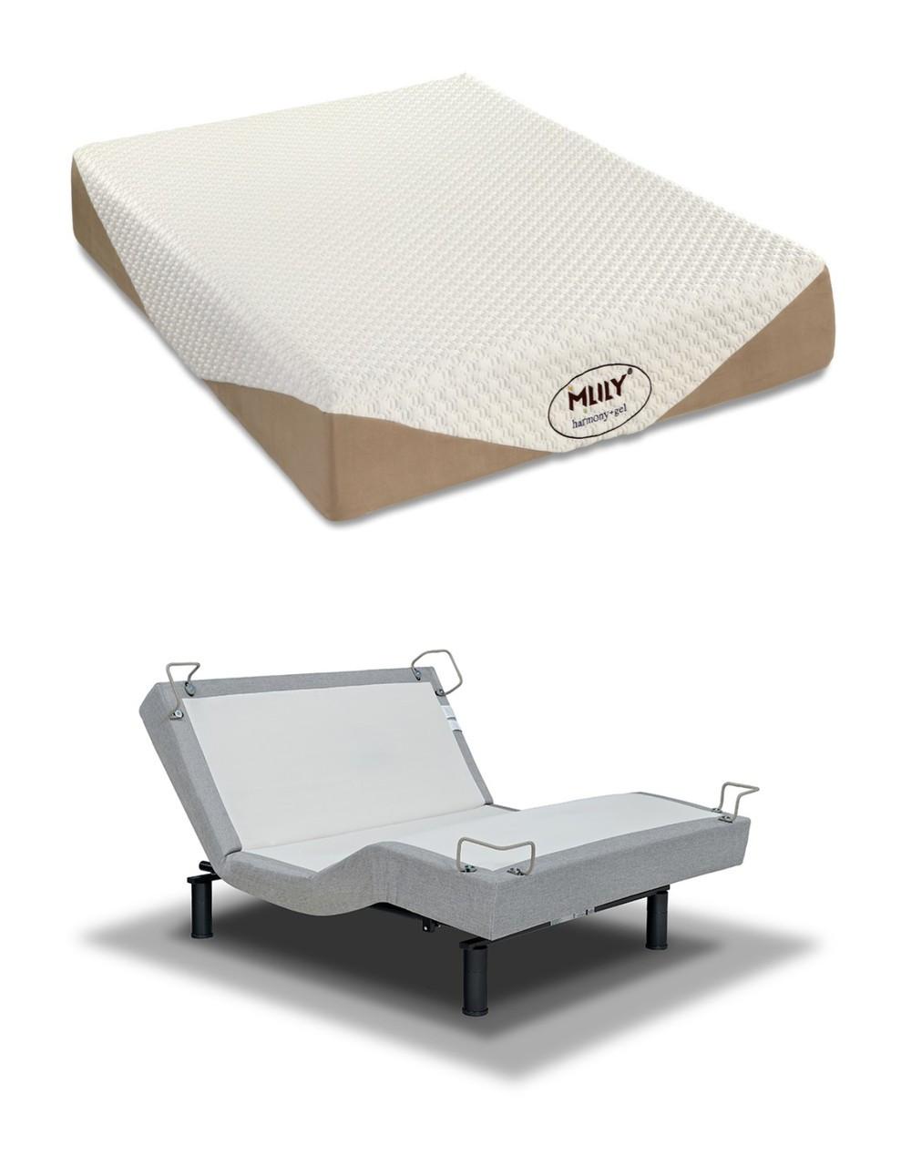 Mlily harmony 10 gel memory foam mattress reverie 5d adjustable bed set