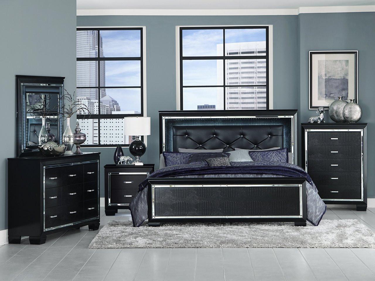 Homelegance Allura Collection 4 Piece Bedroom Set in Black