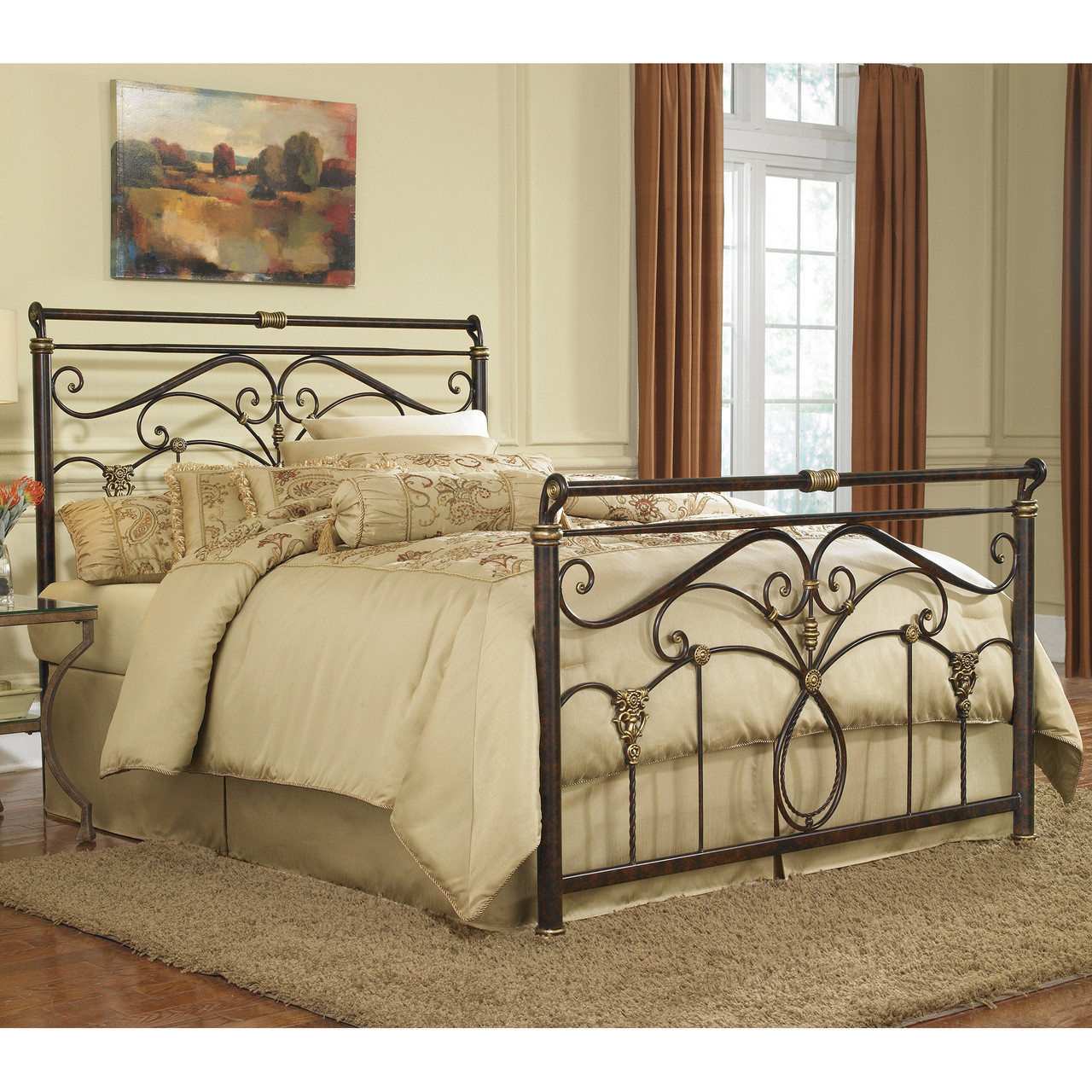 - Fashion Bed Group Lucinda Steel Sleigh Bed Marbled Russet