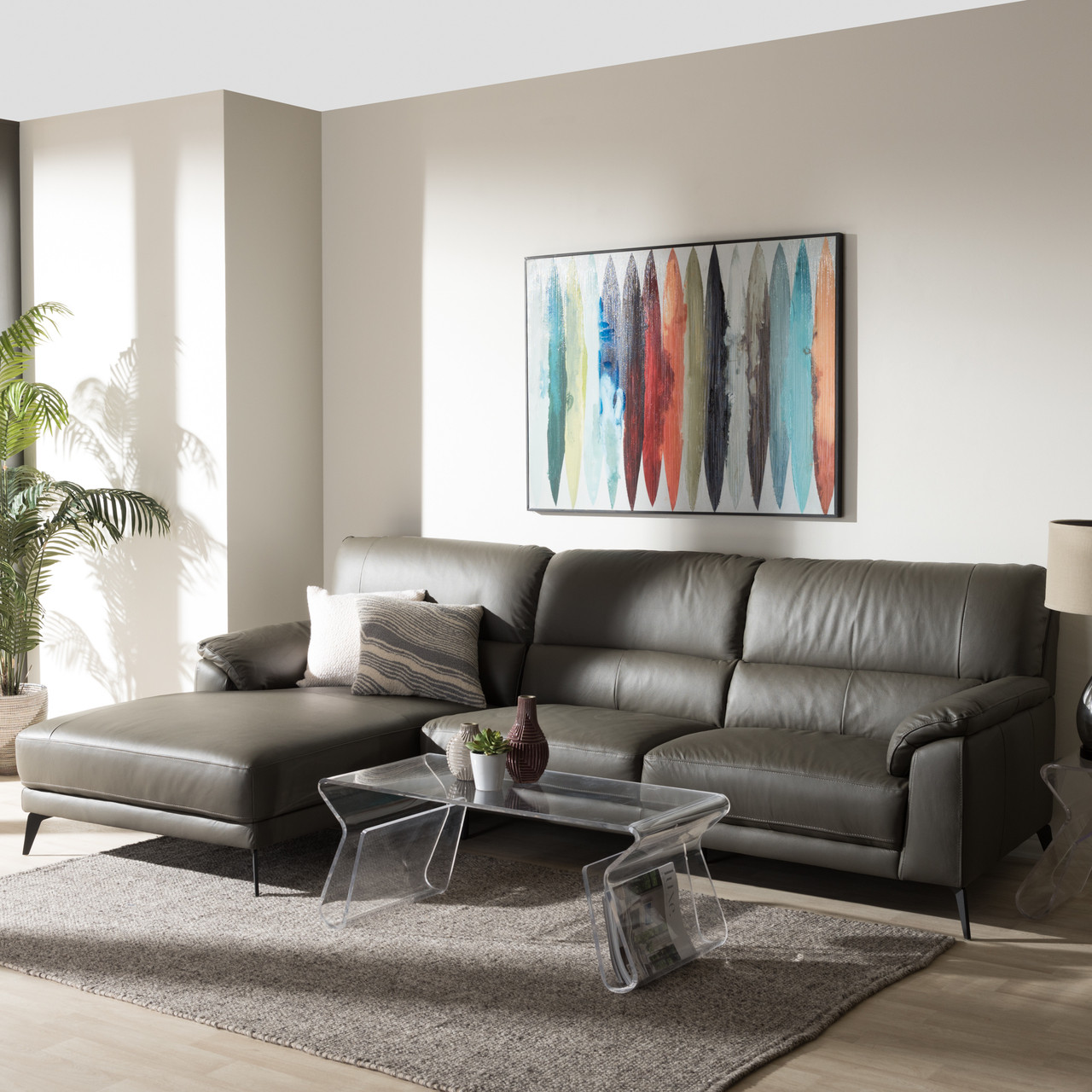 Baxton Studio Radford Modern and Contemporary Dark Grey Leather Left ...