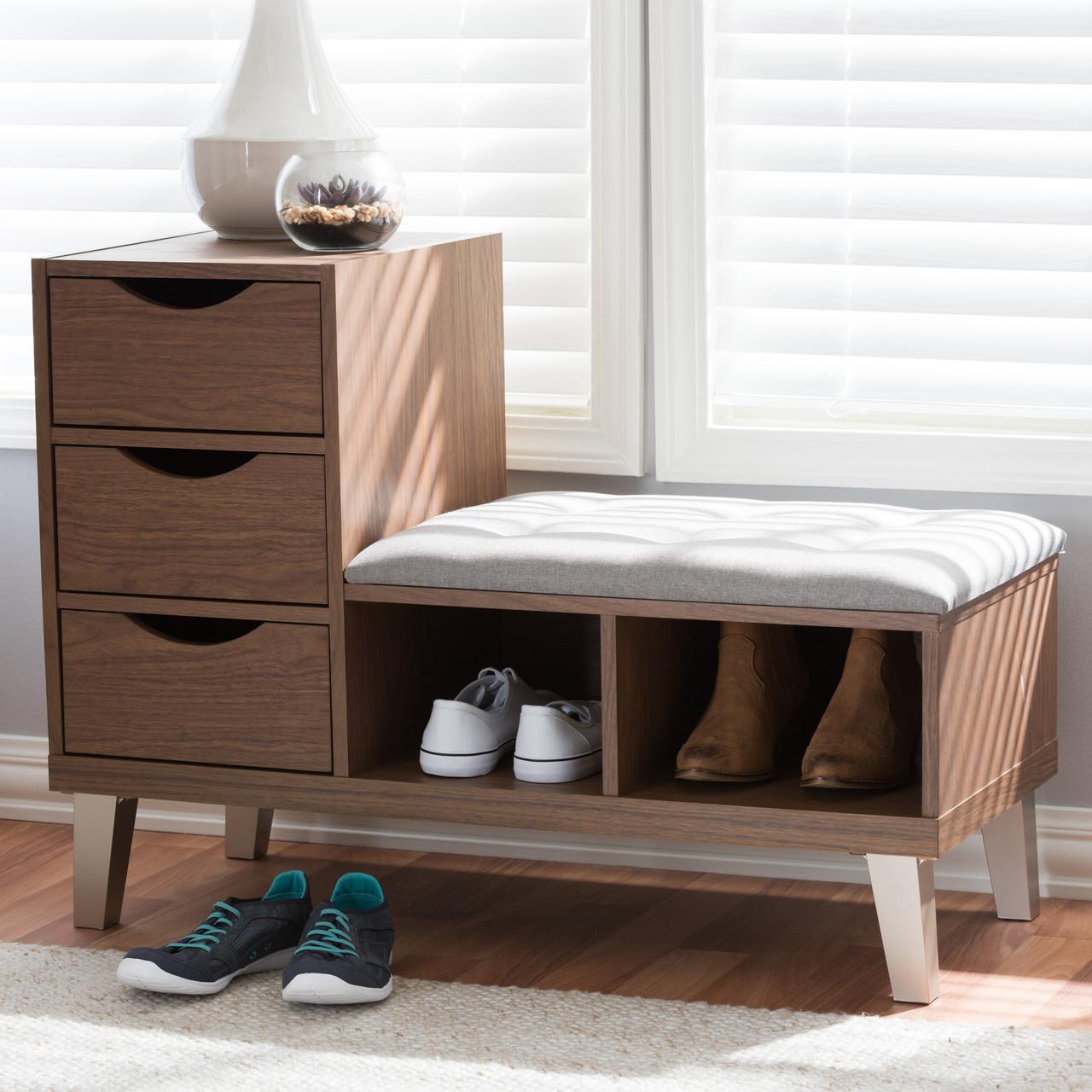 Baxton Studio Arielle Modern And Contemporary Walnut Wood 3 Drawer
