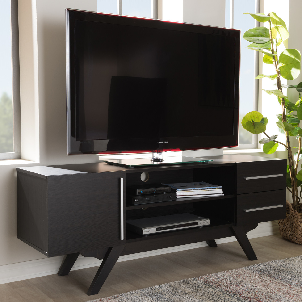 ed649904767 Baxton Studio Ashfield Mid-Century Modern Dark Brown Finished Wood TV Stand  - DealBeds.com