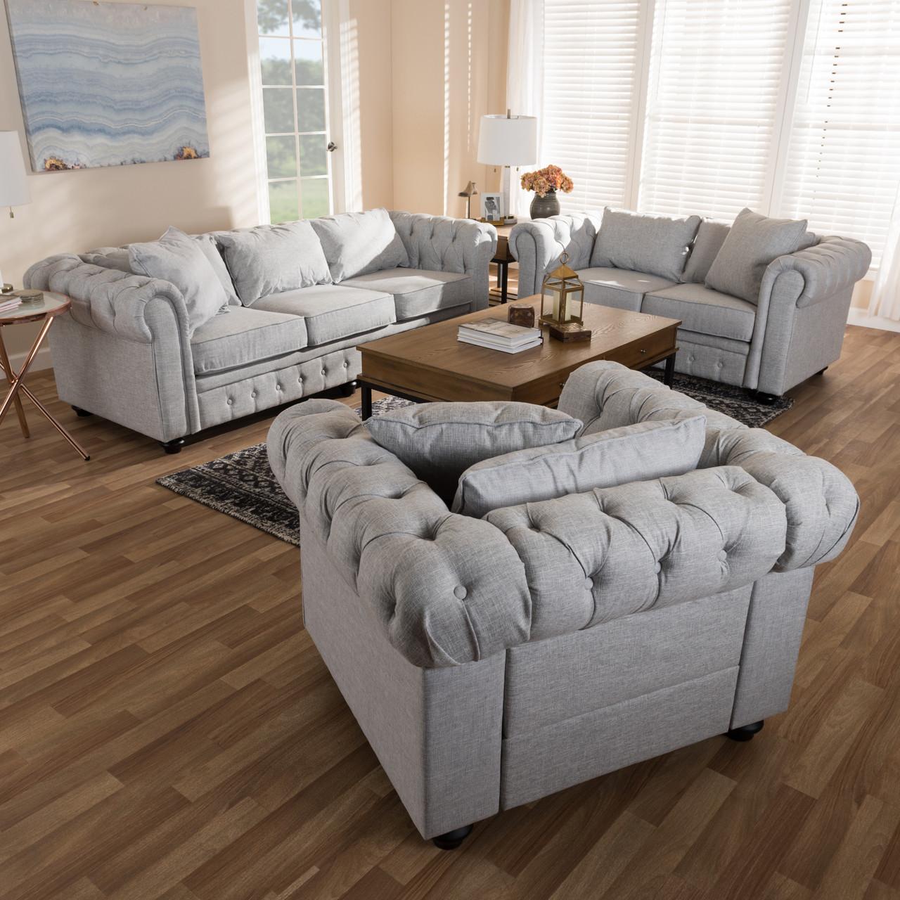 Baxton studio alaise modern classic grey linen tufted scroll arm chesterfield 3 piece living room set dealbeds com