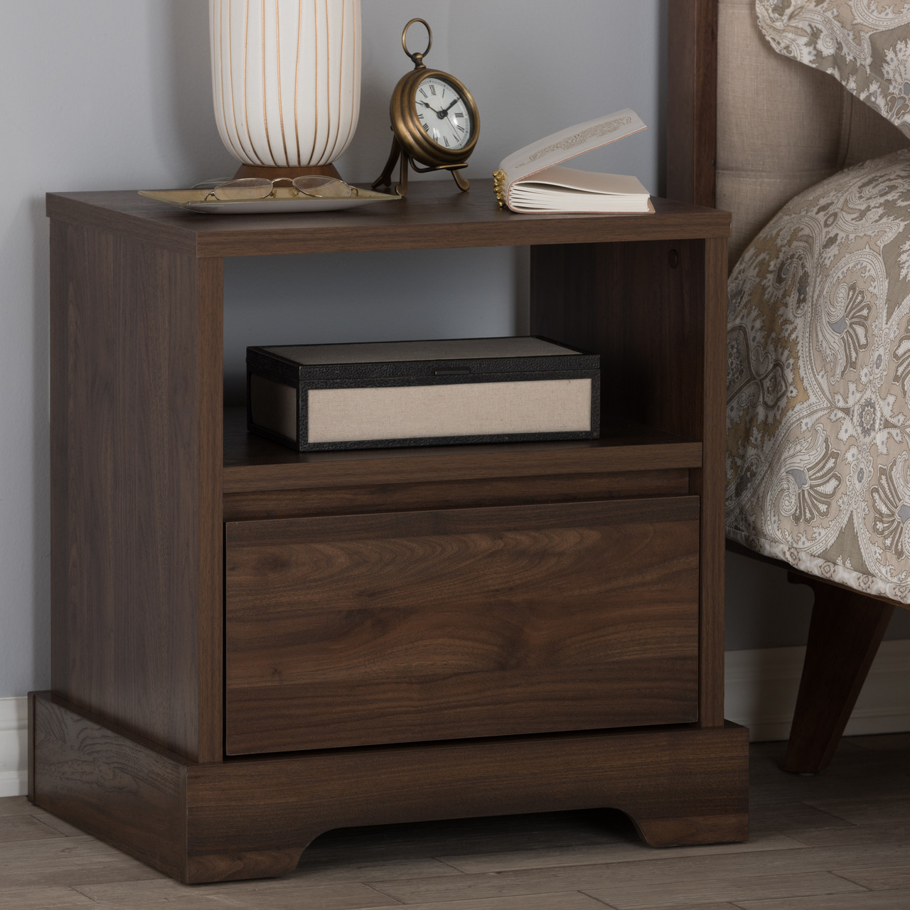 . Baxton Studio Burnwood Modern and Contemporary Walnut Brown Finished Wood  1 Drawer Nightstand